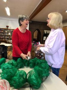 The Calvary Elves making Christmas Wreaths for the Calvary Ringers Fundraiser 2018
